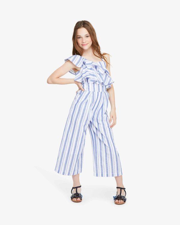 Girls Stripe Jumpsuit
