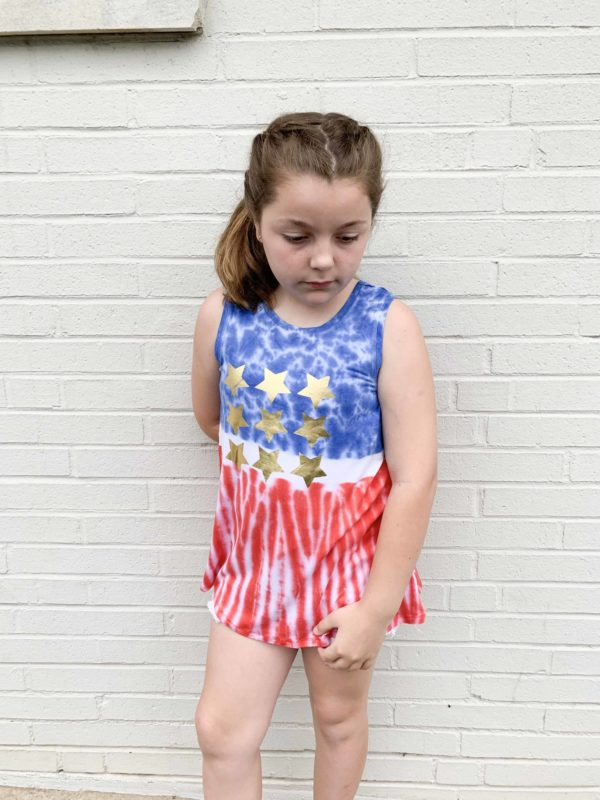 Girls Patriotic Tie Dye Top