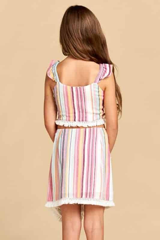 Girls Stripe Top with Tassel Trim