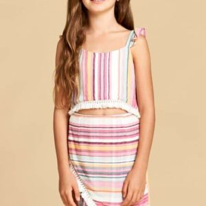 Girls Stripe Top with Tassel Trim