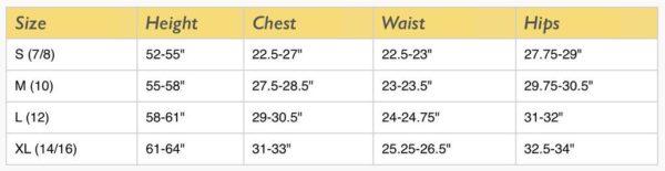 Sally Miller Size Chart