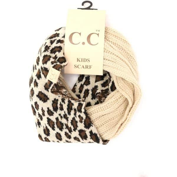 CC Beanie Leopard Kids Scarf Beige
