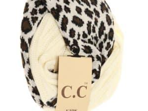 CC Beanie Leopard Kids Scarf Ivory