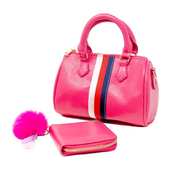 Striped Duffle Bag with Wallet