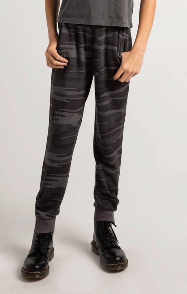Z Supply Girls Camo Joggers Charcoal