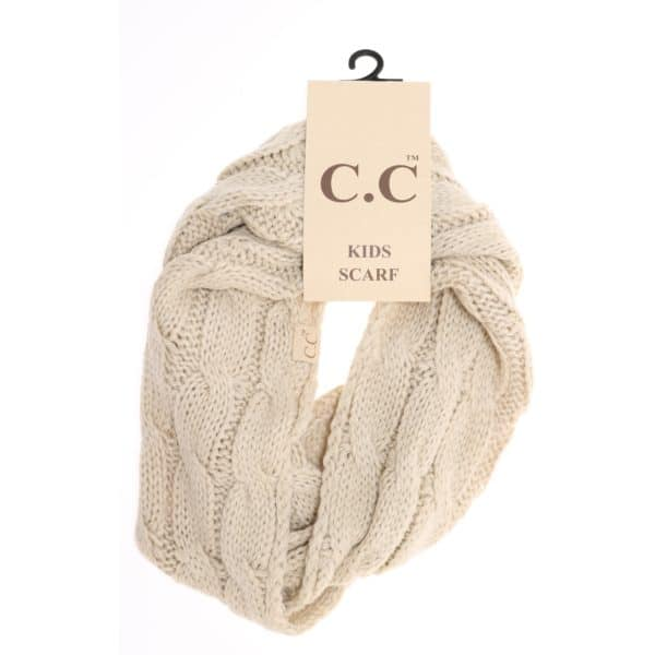 C.C. Beanie KIDS SOLID CABLE KNIT INFINITY SCARF