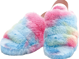 Iscream rainbow furry slippers