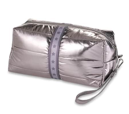 Puffer Cosmetic Bags gun metal with grey star