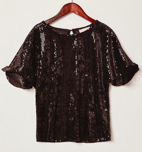 Hayden Girl Sequin Top ~ Black