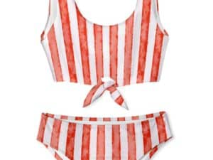 Stella Cove Red Stripe Tie Chest Bikini