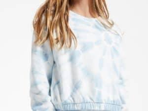 Z Supply Girls Carmen Tie Dye Blue Agave Top