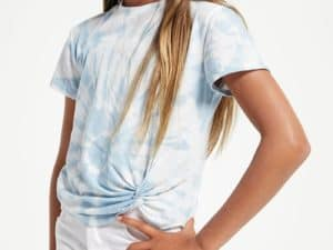 Z Supply Girls Teagan Tie Dye Tee Blue Agave