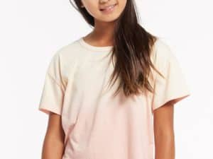 Z Supply Girls Nattie Organic Ombre Tee Pearl Rose