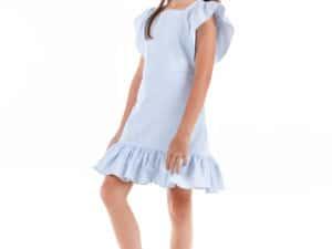 GABBY GIRLS' FLUTTER-SLEEVE COTTON LINEN DRESS